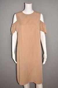 AKRIS-PUNTO-1290-Cold-Shoulder-Shift-Dress-in-Sand-Size-10