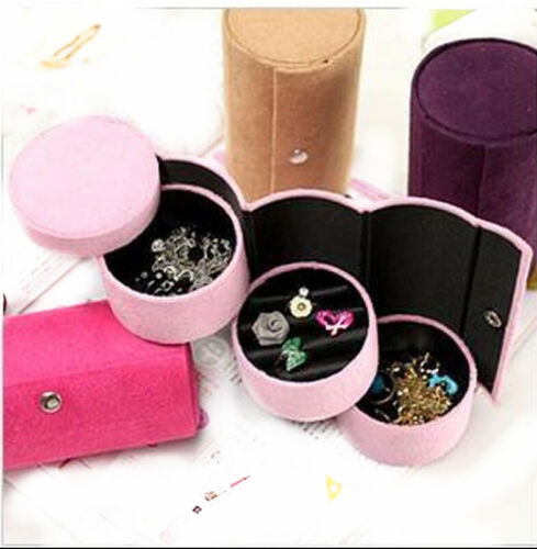 Travel Necklace Earrings Rings Jewelry Display Box Carring Case Velvet-RED