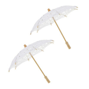 2x Cotton Lace Flower Wedding Umbrella Vintage Embroidered Sun Parasol