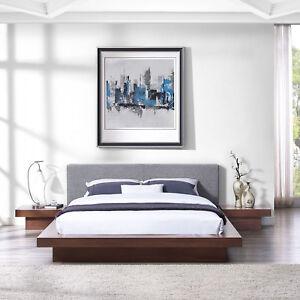Modway Freja 3 Piece Queen Fabric Bedroom Set in Walnut Gray ...