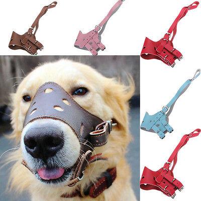Leather Pet Muzzle Adjustable Stop Chew Mesh Guardian Anti Bite Dog Mouth Mask