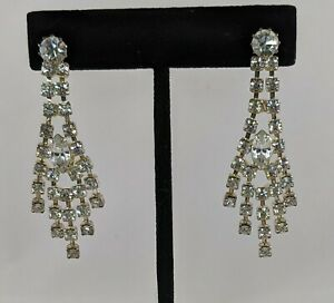 Baguette Rhinestone Dangle Earrings Vintage Hollywood Regency Jewelry Fashion Accessories For Her