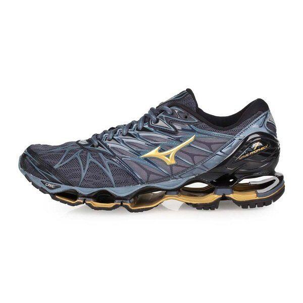 Mizuno Wave Prophecy 7 Uomo Running scarpe J1GC180050 grigio grigio grigio blu oro New 18U 8427a3