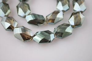 10pcs-18x13mm-Long-Octagonal-Faceted-Crystal-Glass-Loose-Beads-Yellow-amp-Green