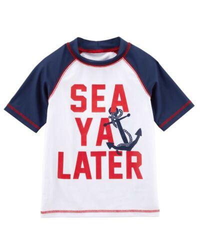 "Carter/'s NWT Boys/' Raglan Sleeve Rashguard White /""Sea Ya Later/"" 4//5"