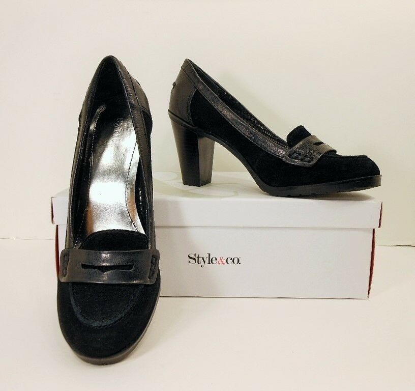 NIB Style&co Black Suede Leather Platform Heels Loafers Pumps shoes 6.5 M (S195)