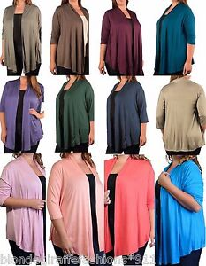 3-4-Sleeve-Shrug-Open-Front-Cardigan-Cover-Up-Plus-Top-Solid-Color-Colors
