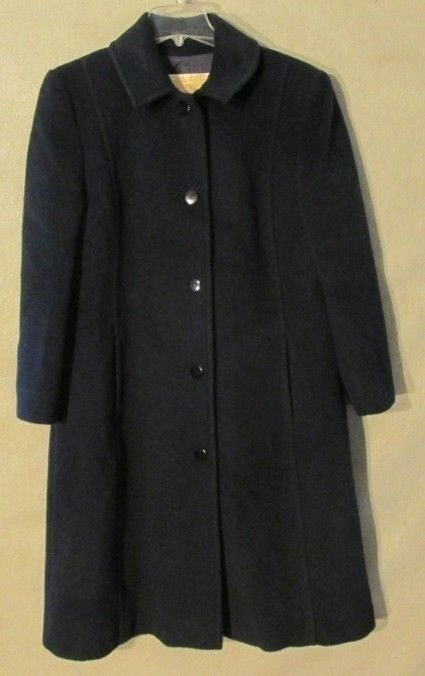 V7048 Pendleton Women's bluee 100% Pure Virgin Wool Lined Long Coat Made in USA