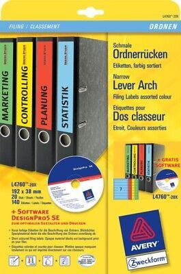 Büro & Schreibwaren Papier, Büro- & Schreibwaren Schneidig Avery Zweckform L4760-20x Ordnerrücken A4 Ordner-etiketten Schmal Rückenschilder