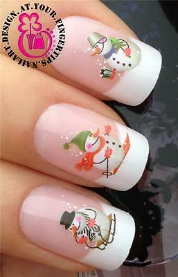 CHRISTMAS SNOWMEN NAIL ART WATER TRANSFER STICKERS DECALS DECO SET  FIGURES #821