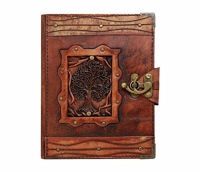 Handmade Real Leather Refill Journal Brown Diary Notebook Sketchbook Cat Anime