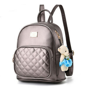 Women-Travel-Satchel-Backpack-Leather-Bear-Shoulder-School-Bag-Rucksack-Handbag