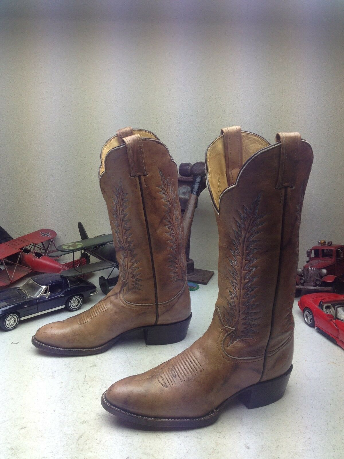 BLACK LABEL MADE IN USA VINTAGE BROWN LEATHER TONY LAMA BUCKAROO BOOTS 8.5 D
