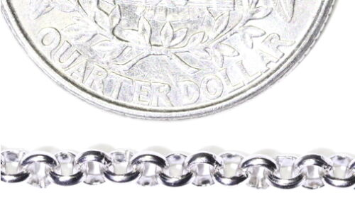 """7.5 inch 925 STERLING SILVER Luxury Chain Rolo Ring Bracelet 7.5/"""" Rhodium Finish"""