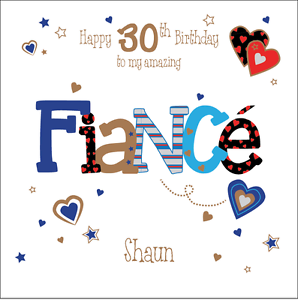 Image Is Loading Personalised 30th Birthday Card Fiance Husband Boyfriend Any