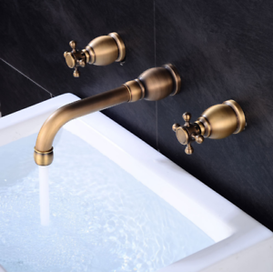 Image Is Loading Antique Brass Wall Mounted 2 Handles Bathtub Faucet