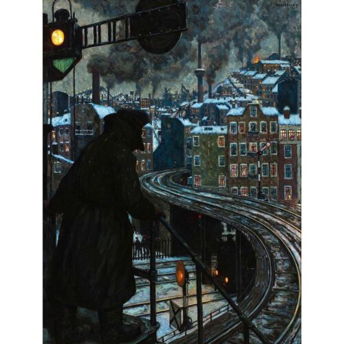 Painting Cityscape Allegory Baluschek Working Class City 12X16 Inch Framed Print