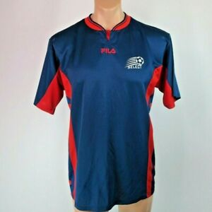 7091b1a2b8c VINTAGE FILA SOCCER EXPRESS JERSEY Mens M NAVY   RED Worn Once MADE ...
