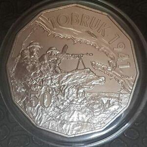2015-50-Cents-Australia-At-War-TOBRUK-Specimen-UNC-in-2x2-Coin-Holder