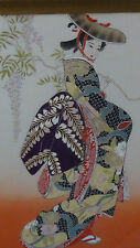 EARLY 20c JAPANESE PAINTING ON SILK OF GEISHA WEARING IN RICH KIMONO ROBE