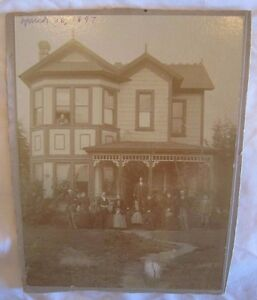 """RARE Orig 1897 FAMILY Cabinet PHOTO 2 story VICTORIAN HOUSE Fashion! 6x8"""" *"""