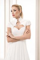 Ivory / White Taffeta And Lace Bridal Wedding Bolero Jacket S M L Xl
