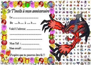 Beliebt 5 cartes invitation anniversaire Pokemon X & Y 030 d'autres en  UR37