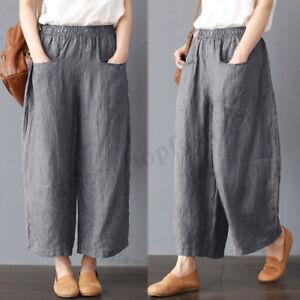 ZANZEA-S-5XL-Women-Casual-Pants-Wide-Legs-Oversize-Stripe-Elastic-Waist-Trousers