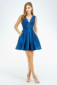 Ladies EMBROIDERED TOP HOMECOMING Taffeta Prom Formal Short DRESS S M L 26473