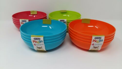 8 x EDGO Pic/&go Plastic Bowls Pastel Colours Party Event Picnic BBQ Buffet