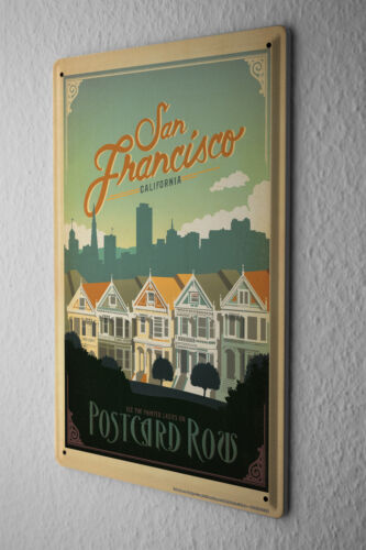 Tin Sign Deco City  San Francisco Painted Ladies townhouses