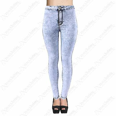 LADIES HIGH WAISTED TUBE JEANS WOMENS STRETCH BLUE DENIM SKINNY FIT DISCO PANT