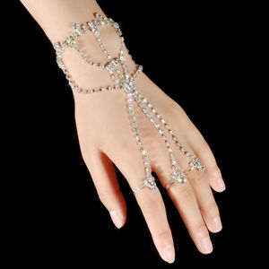 Image Is Loading Silver Rhinestone Ring Slave Hand Chain Bracelets With
