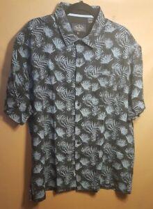 Nat-Nast-Men-XL-Blue-Silk-Blend-Hawaiian-Camp-Shirt-Button-Front-NEW