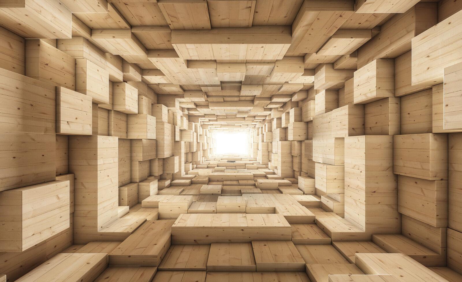 VLIES Fototapete-3D HOLZ-WAND-(3247)-Tunnel Fantasie Abstraktion Mural xxl