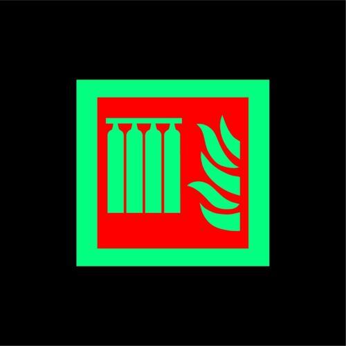 ISO International Fixed fire extinguishing battery Symbol Photoluminescent sign