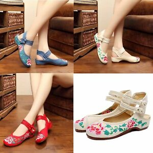 Womens-Chinese-Embroidered-Handmade-Flat-Shoes-Floral-Mary-Jane-Sandals-Shoes