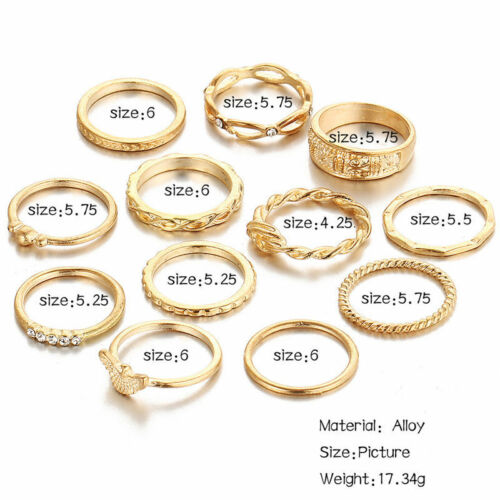Women Gold Silver Midi Finger Ring Set Vintage Punk Boho Knuckle Rings Jewelry