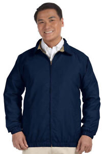 Harriton-Men-039-s-Water-Resistant-Two-Front-Pockets-Microfiber-Club-Jacket-M710