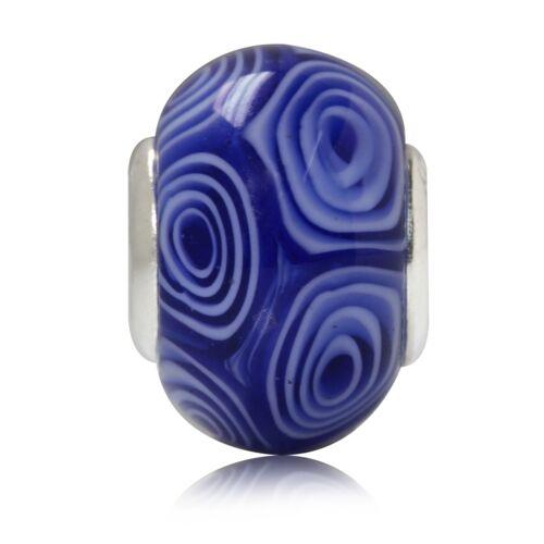 Blue /& White Murano Glass 925 Sterling Silver European Charm Bead