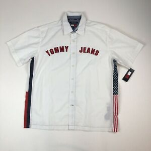 Mens-Vtg-TOMMY-JEANS-White-USA-FLAG-S-S-Button-Front-Shirt-Sz-L-New-w-Stains