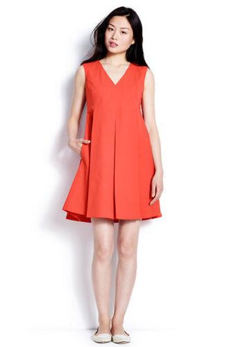 Lands' End Orange Cotton Stretch Pique Empire Pleats Pockets Social Dress 2
