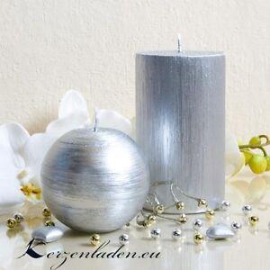 Stumpenkerze Silber Patiniert 12cm Kerzen Advent Tischdeko Hochzeit
