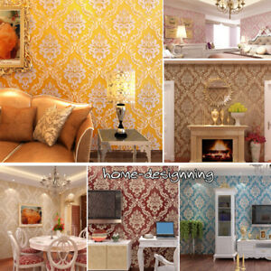 10M 3D Damask Luxury Glitter Wallpaper Embossed Textured ...