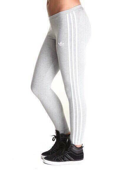 Last Pairs BNWT ADIDAS ORIGINALS WOMEN'S 3 STRIPES LEGGINGS Size 14 And 18 Grey