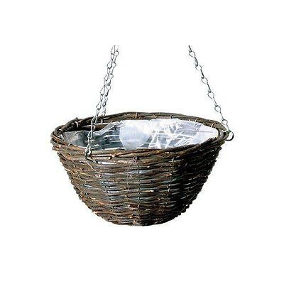 "6 X 16/"" NATURAL WICKER HANGING BASKET LINED 40CM RATTAN WILLOW FLOWER PLANTER"