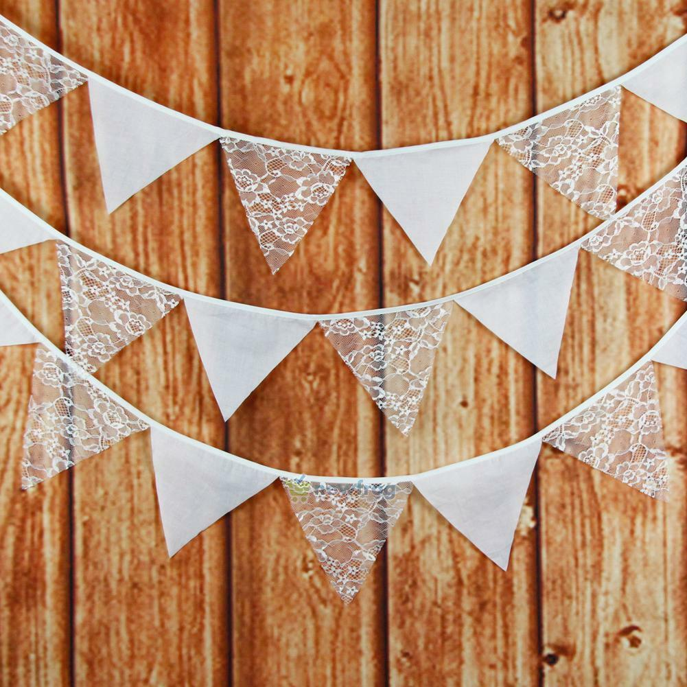 Lace Cotton Fabric Vintage Triangle Flags Bunting Banner Wedding Party Decor
