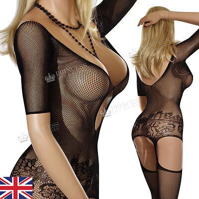 S47 UK SIZE 6-22 Fishnet Erotic Sleeved Bodystocking Bodysuit PLUS SIZE Nighties