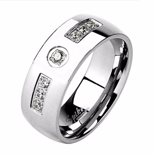LOVERS Stainless Steel Mens 7 CZs Band WOMENS Princess Cut CZ Wedding Ring Set
