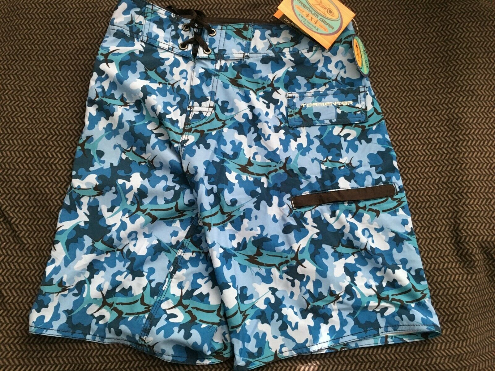 Tormenter Men's Premium Gear 4X4 Stretch Board Shorts Sz 36 MSRP  bluee Camo